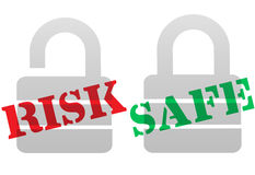 Símbolos SEGUROS del bloqueo de la seguridad de la protección del RIESGO stock de ilustración