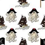 Símbolos sem emenda do pirata do teste padrão - navios, Davy Jones, polvo, bandeira, gancho, etc. Textura infinita para seu proje ilustração royalty free