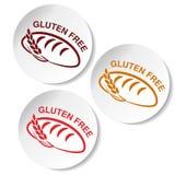 Símbolos sem glúten no fundo branco Etiquetas circulares com as silhuetas do pão com spikelet Imagens de Stock