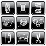 Símbolos Sewing e de needlework Imagens de Stock