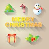 Símbolos simples do Natal do vetor Foto de Stock Royalty Free