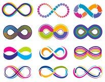 Símbolos sin fin del concepto del vector del infinito del lazo del mobius Iconos de la eternidad libre illustration