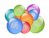 Símbolos sociales de la red Imagenes de archivo