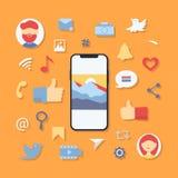 Símbolos sociales de los iconos de los medios stock de ilustración