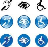 Símbolos sordos, ciegos, discapacitados Fotografía de archivo