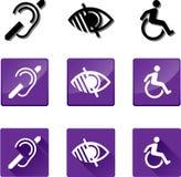 Símbolos sordos, ciegos, discapacitados Fotografía de archivo libre de regalías