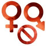Símbolos sujos do sexo e da parada Foto de Stock Royalty Free