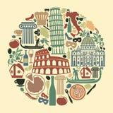 Símbolos tradicionais de Itália ilustração stock