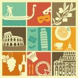 Símbolos tradicionais de Itália ilustração royalty free