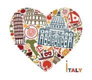 Símbolos tradicionais de Itália sob a forma do coração ilustração stock