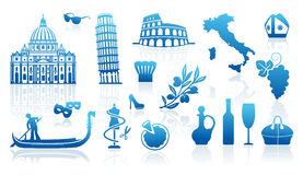 Símbolos tradicionais de Italia ilustração royalty free