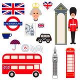 Símbolos tradicionais do vetor de Inglaterra Imagem de Stock Royalty Free