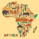 Símbolos tradicionales de África bajo la forma de mapa Imagen de archivo libre de regalías