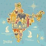 Símbolos tradicionales de la India bajo la forma de mapa stilized stock de ilustración