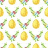 Símbolos tradicionales del saludo del modelo de la historieta del vector de Pascua del fondo del día de fiesta de la decoración d Fotografía de archivo libre de regalías