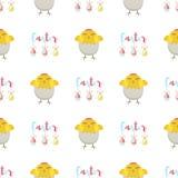 Símbolos tradicionales del saludo del modelo de la historieta del vector de Pascua del fondo del día de fiesta de la decoración d Imagenes de archivo