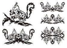 Símbolos tribales de la ardilla Imagenes de archivo
