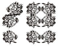 Símbolos tribales de la cabeza del león Negro en el blanco Foto de archivo libre de regalías
