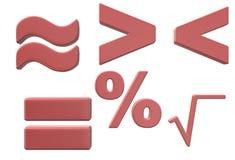 Símbolos usados en estudio elemental básico de las matemáticas ilustración del vector