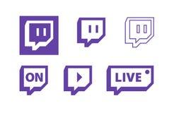Símbolos video da transmissão do jogo vivo da contração muscular, projeto liso do ícone do vetor ilustração do vetor