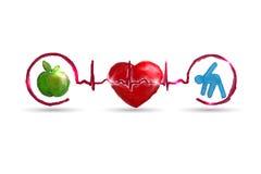Símbolos vivos sanos de la atención sanitaria de la acuarela Fotografía de archivo libre de regalías