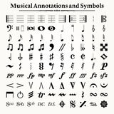 Símbolos y anotaciones musicales Foto de archivo libre de regalías