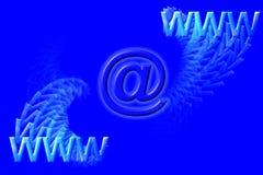 Símbolos y email de WWW sobre azul Imagenes de archivo