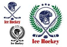 Símbolos y emblemas del hockey sobre hielo Foto de archivo libre de regalías