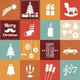 Símbolos y iconos de la Navidad Fotografía de archivo libre de regalías