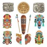 Símbolos y imágenes antiguos mayas stock de ilustración