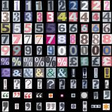 Símbolos y números del periódico Imagenes de archivo