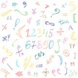 Símbolos y números dibujados mano colorida del garabato Muestras del garabato aisladas en blanco Imagen de archivo