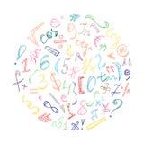 Símbolos y números dibujados mano colorida del garabato Muestras del garabato dispuestas en un círculo Foto de archivo