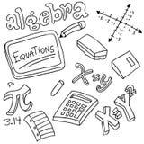 Símbolos y objetos de la álgebra Fotos de archivo libres de regalías