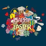 Símbolos y objetos dibujados mano del vector de Pascua Fotografía de archivo