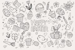 Símbolos y objetos dibujados mano del vector de Pascua Imágenes de archivo libres de regalías