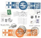 Símbolos y sellos de la postal de la vendimia stock de ilustración