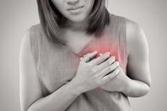 Síntoma del ataque del corazón imagenes de archivo