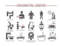 Síntomas colorrectales del cáncer diagnóstico Iconos planos fijados Muestras del vector para los gráficos del web stock de ilustración