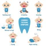 Síntomas de la dentición del bebé Foto de archivo