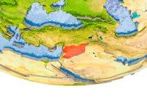 Síria no vermelho no modelo de terra Fotografia de Stock Royalty Free