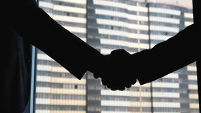 Sócio de Shaking Hands With do homem de negócios Concluíram um negócio ou um contrato video estoque