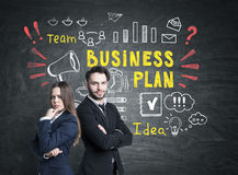 Sócios comerciais e plano de negócios brilhante Imagem de Stock