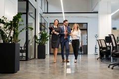 Sócios comerciais que andam para baixo no prédio de escritórios e que discutem o trabalho Foto de Stock Royalty Free