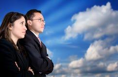 Sócios comerciais que prestam atenção a seu sucesso Imagens de Stock Royalty Free