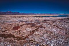 Sól depozyty od wodnego odparowywania w bagnach fotografia royalty free