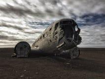 Sólheimasandur Plane Wreck. The wreck of a 1973 plane crash involving a US Navy Plane on the desolate Sólheimasandur Black Sand Beach near Vik, Iceland stock photos