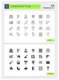 Sólido y línea superiores sistema de la construcción del icono del vector Imagen de archivo libre de regalías
