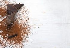 Sólidos del cacao y polvo de cacao Foto de archivo libre de regalías