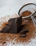 Sólidos del cacao y polvo de cacao Imagen de archivo